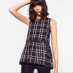 Plaid Tie Back Peplum Top by Zara